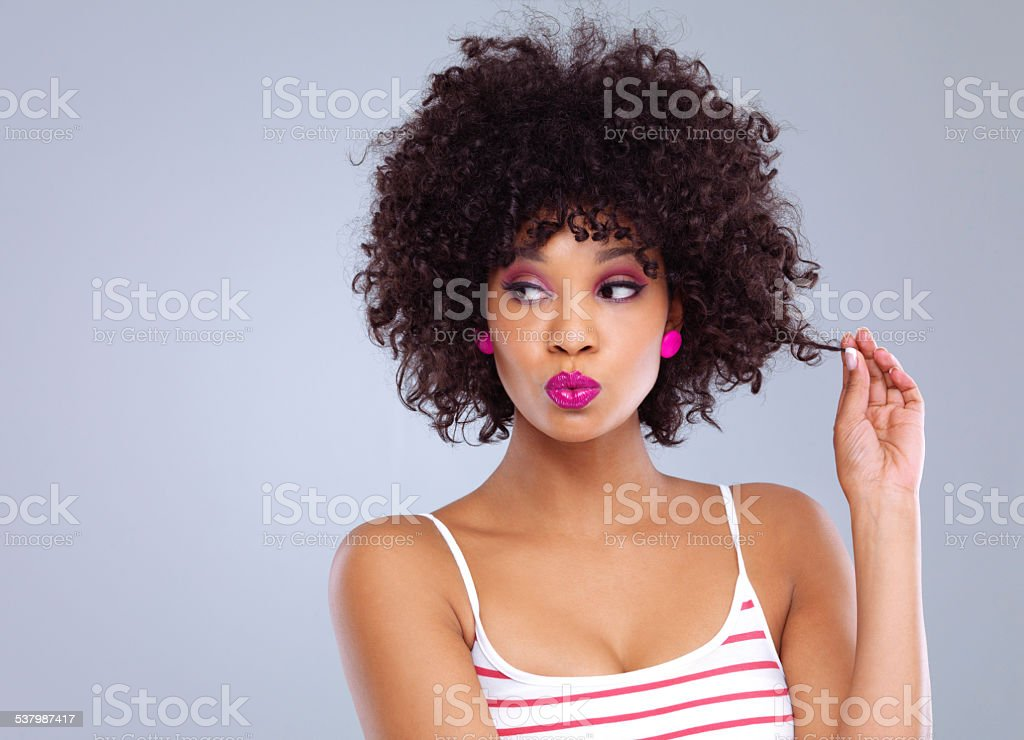 Natural gorgeous curls stock photo