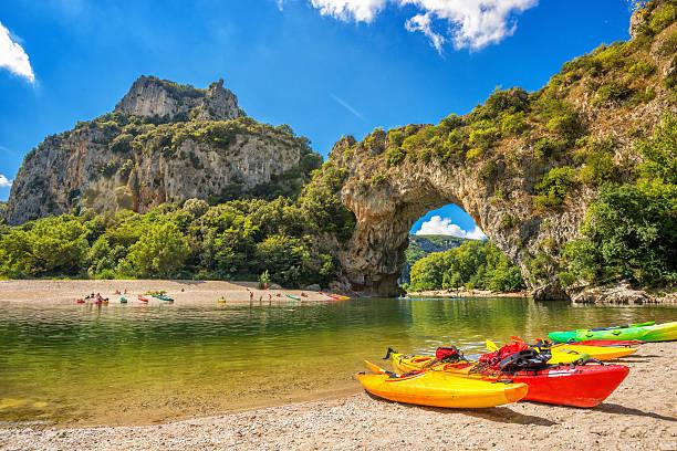 Natural Gorges de l'ardeche, Pont d'Arc, Vallon, France stock photo
