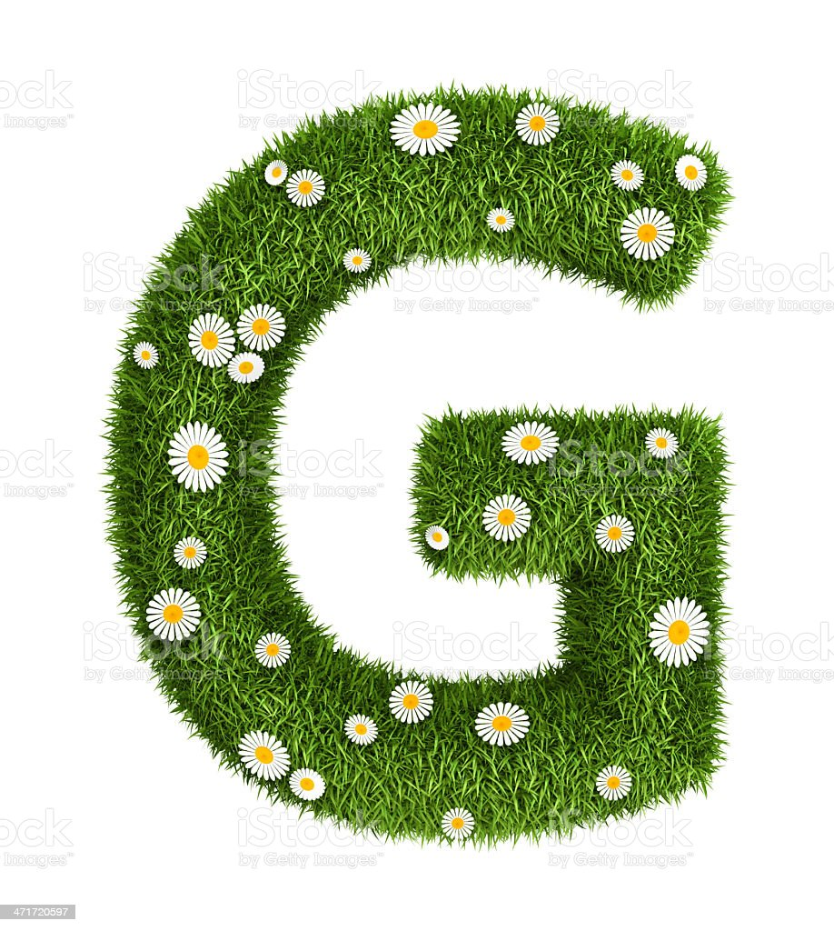 Natural grass letter G royalty-free stock photo