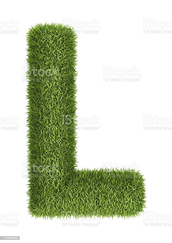 Natural grass letter L royalty-free stock photo