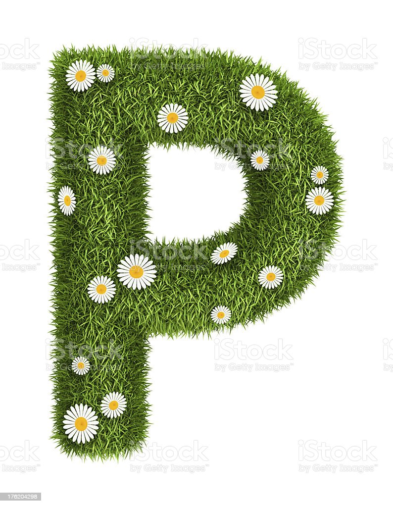 Natural grass letter P royalty-free stock photo