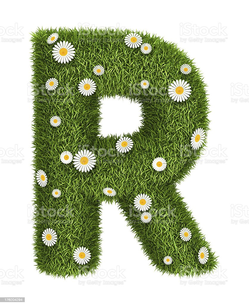 Natural grass letter R royalty-free stock photo