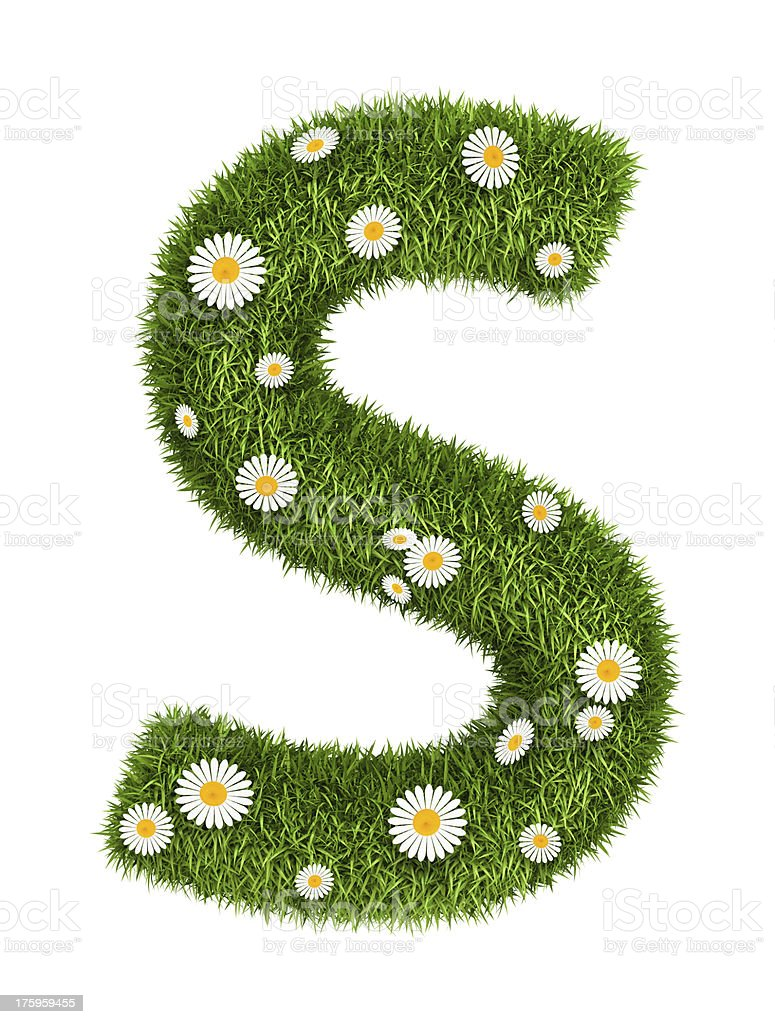 Natural grass letter S royalty-free stock photo