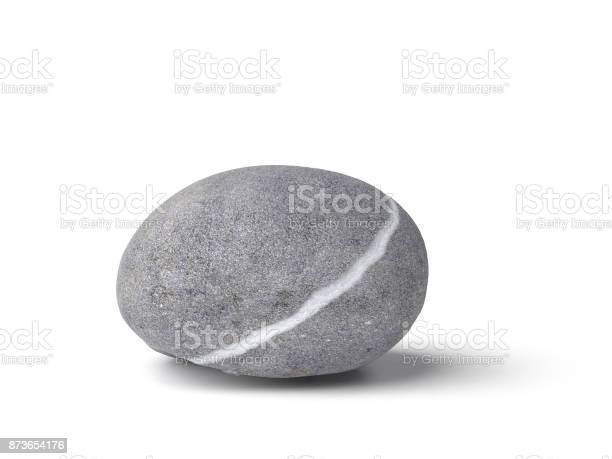 Photo of natural gray stone with white line isolated on white background