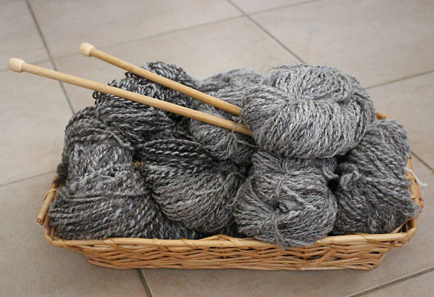 Natural gray wool yarn with knitting needles stock photo