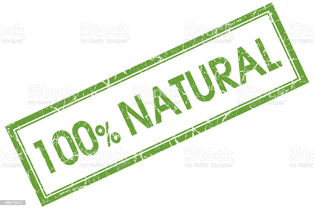 100% natural green square stamp stock photo