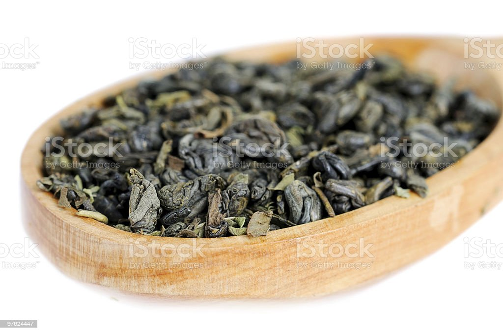 Natural green tea leaves royaltyfri bildbanksbilder