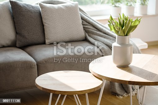 istock Natural grey living room interior 989111136