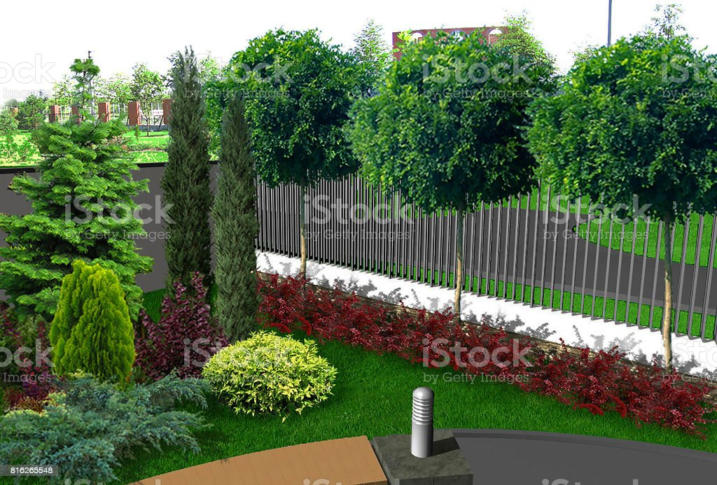 Natural grounds surrounding a home, 3d render stock photo
