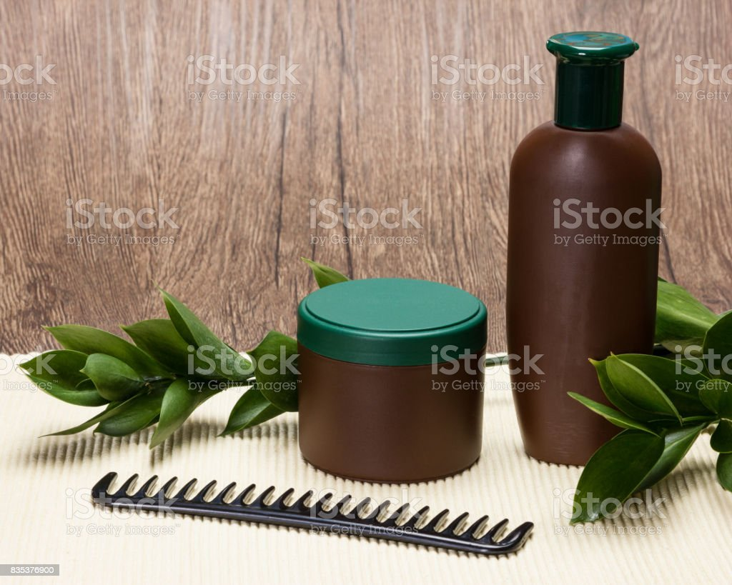 Natural hair care cosmetics with copy space stock photo
