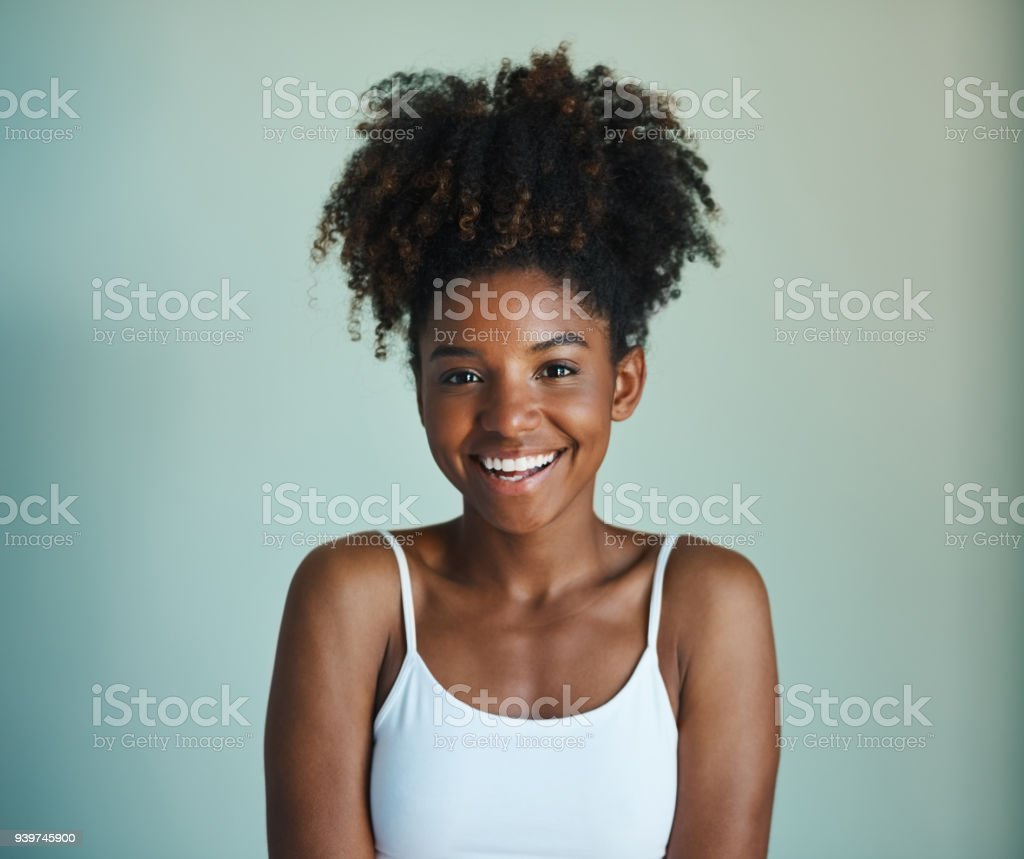 Natural hair, don't care stock photo