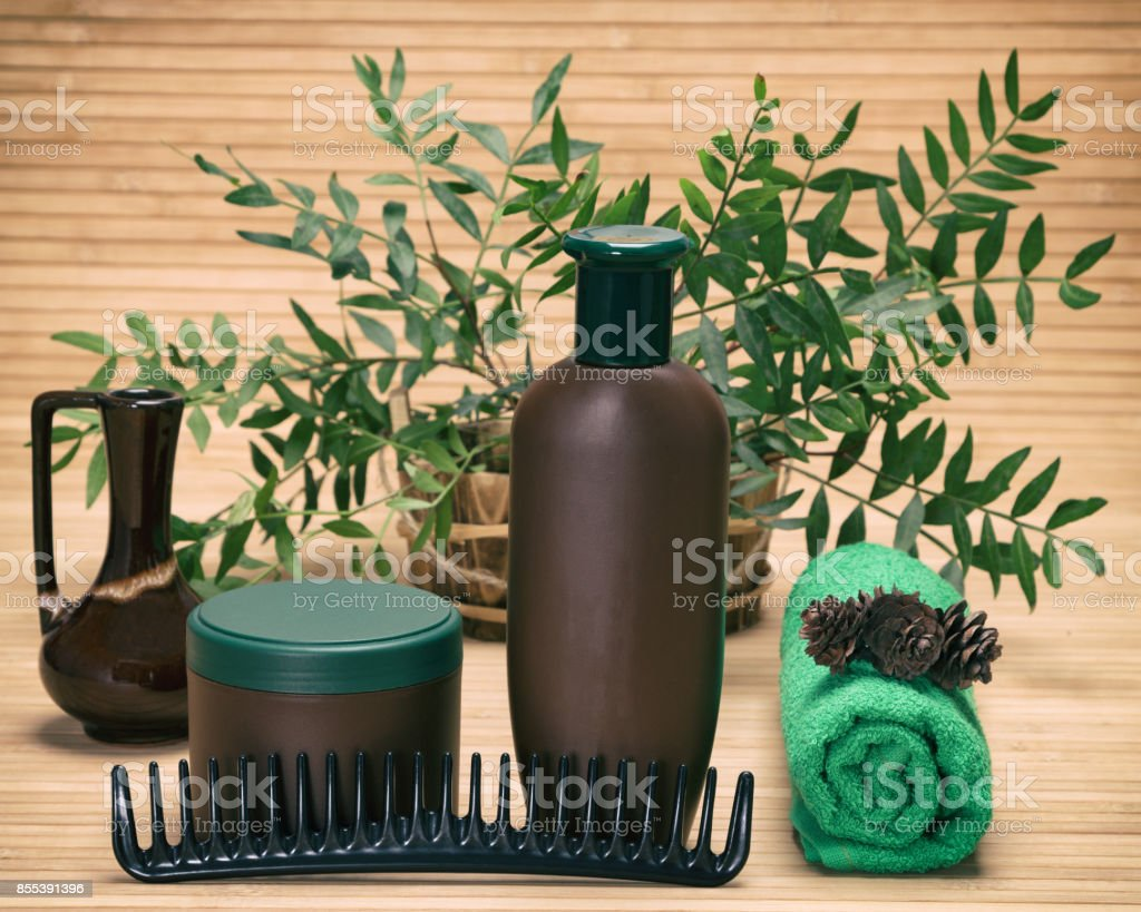 Natural hair treatment products stock photo