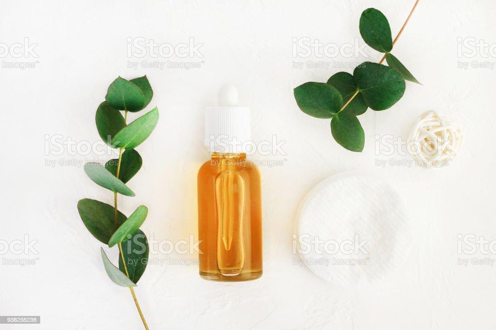 Natural handmade cosmetics with honey and eucalyptus aroma stock photo