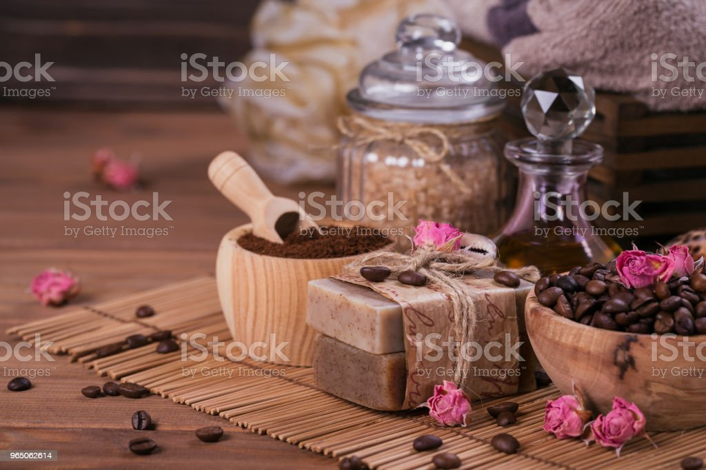 Natural handmade soap, aromatic cosmetic oil, sea salt with coffee beans royalty-free stock photo