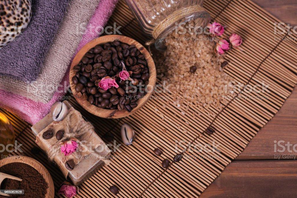 Natural handmade soap, aromatic cosmetic oil, sea salt with coffee beans zbiór zdjęć royalty-free