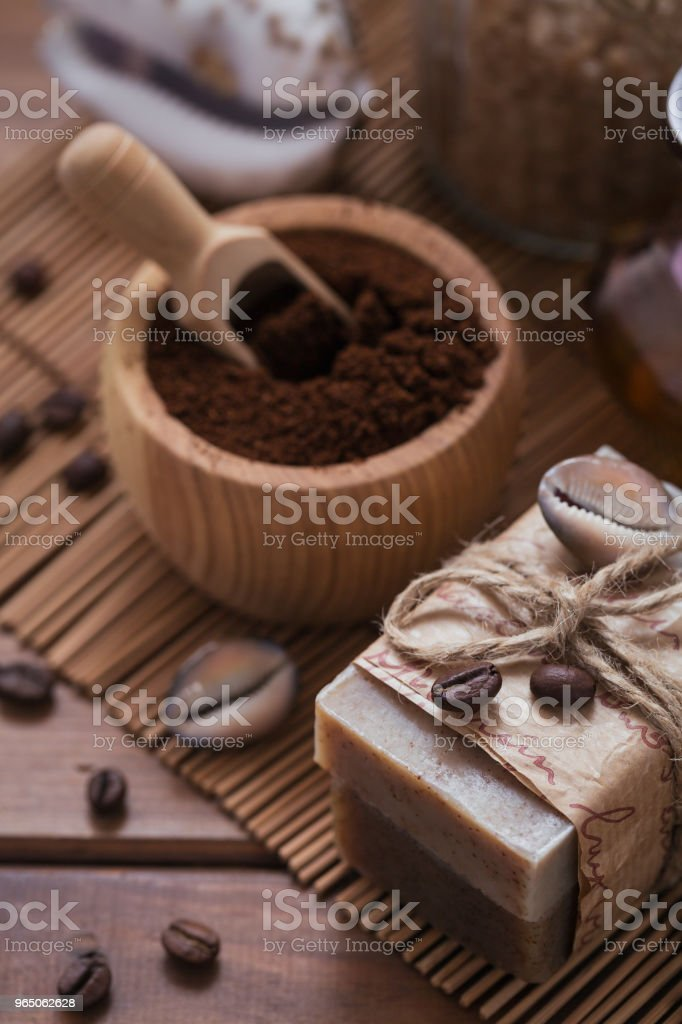 Natural handmade soap, aromatic cosmetic oil, sea salt with coffee beans zbiór zdjęć royalty-free