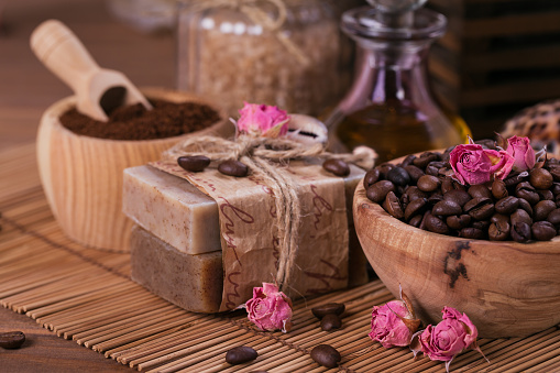 Natural Handmade Soap Aromatic Cosmetic Oil Sea Salt With Coffee Beans Stock Photo & More Pictures of Aromatherapy