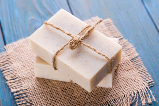 natural, handmade soap - saponetta foto e immagini stock