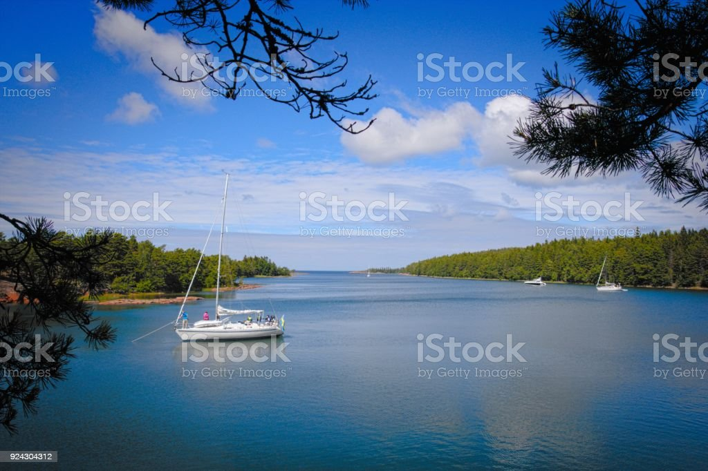 Natural harbor in Aland archipelago stock photo