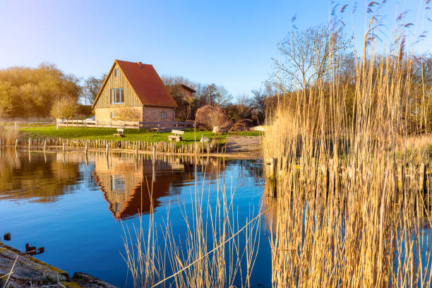 Natural harbor Stolpe on Usedom stock photo