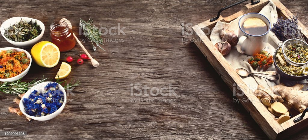 Natural Herbal medicine remedies stock photo