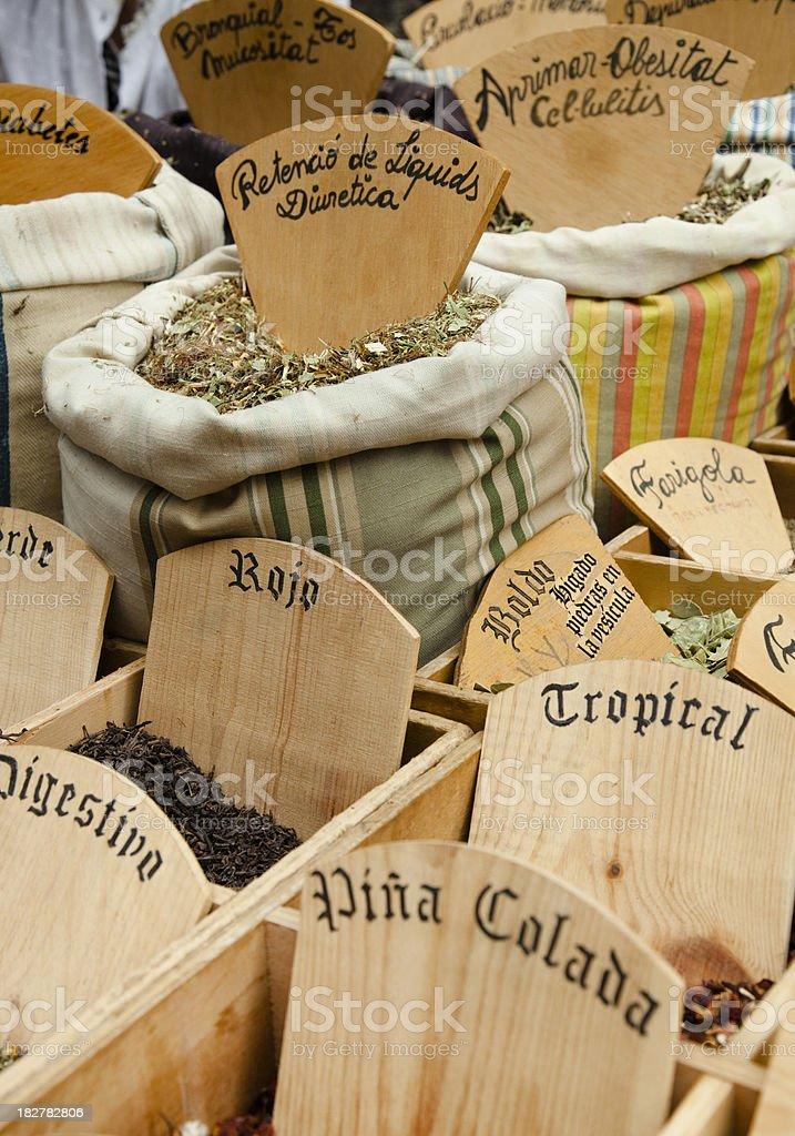 Natural herbs at a market stall. royalty-free stock photo