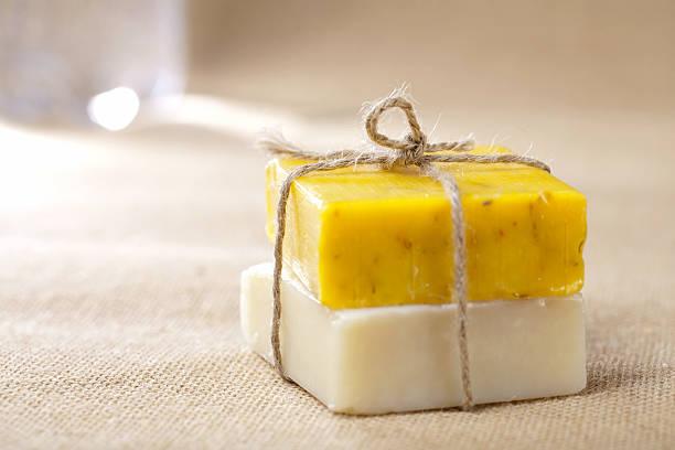 natural homemade herbal soap bars tied stock photo