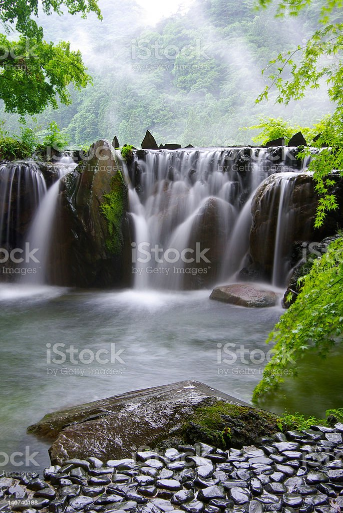 Natural hot spring bath in Japan royalty-free stock photo