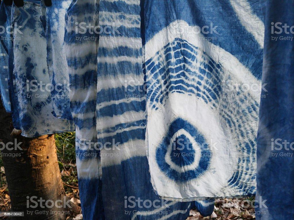 Natural indigo tie dye fabric. stock photo