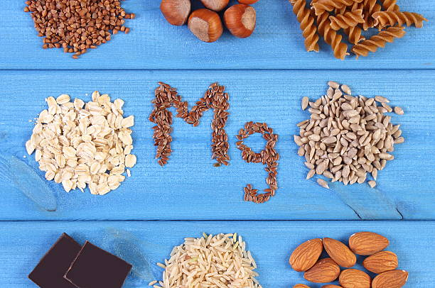natural ingredients and products containing magnesium and dietary fiber - magnesium stock photos and pictures