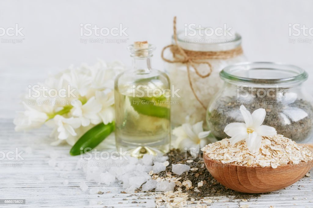 Natural ingredients for homemade facial and body mask royalty-free stock photo