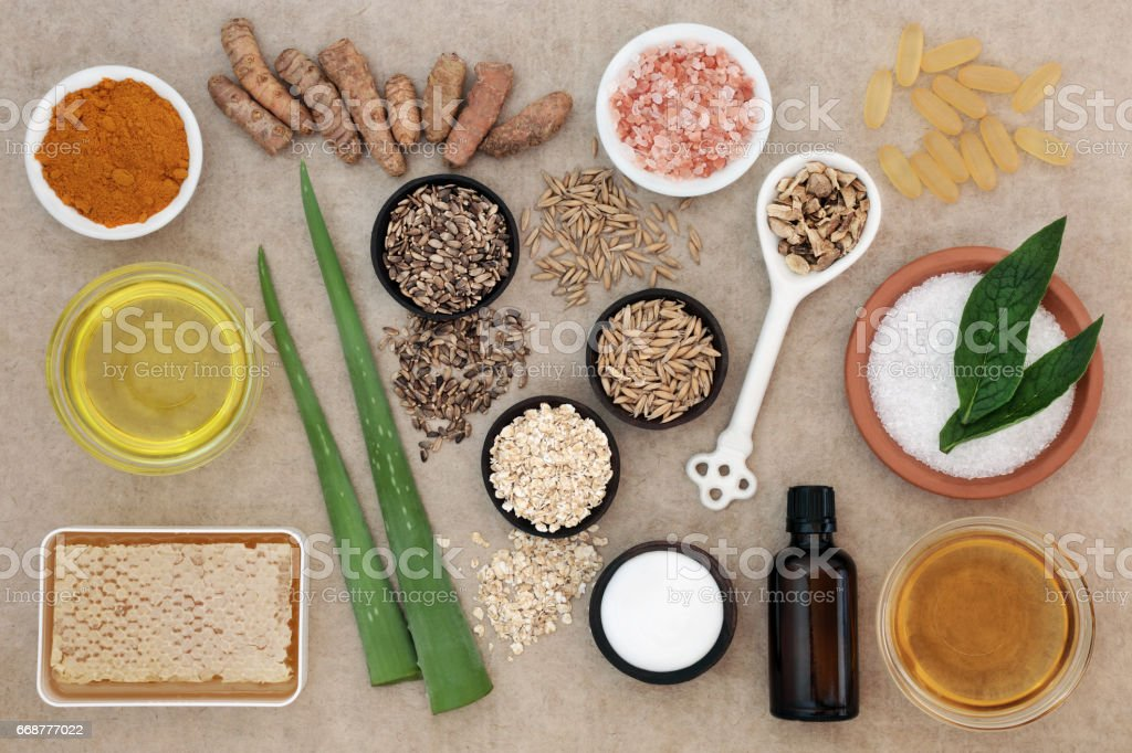 Natural Ingredients for Skin Health Care stock photo