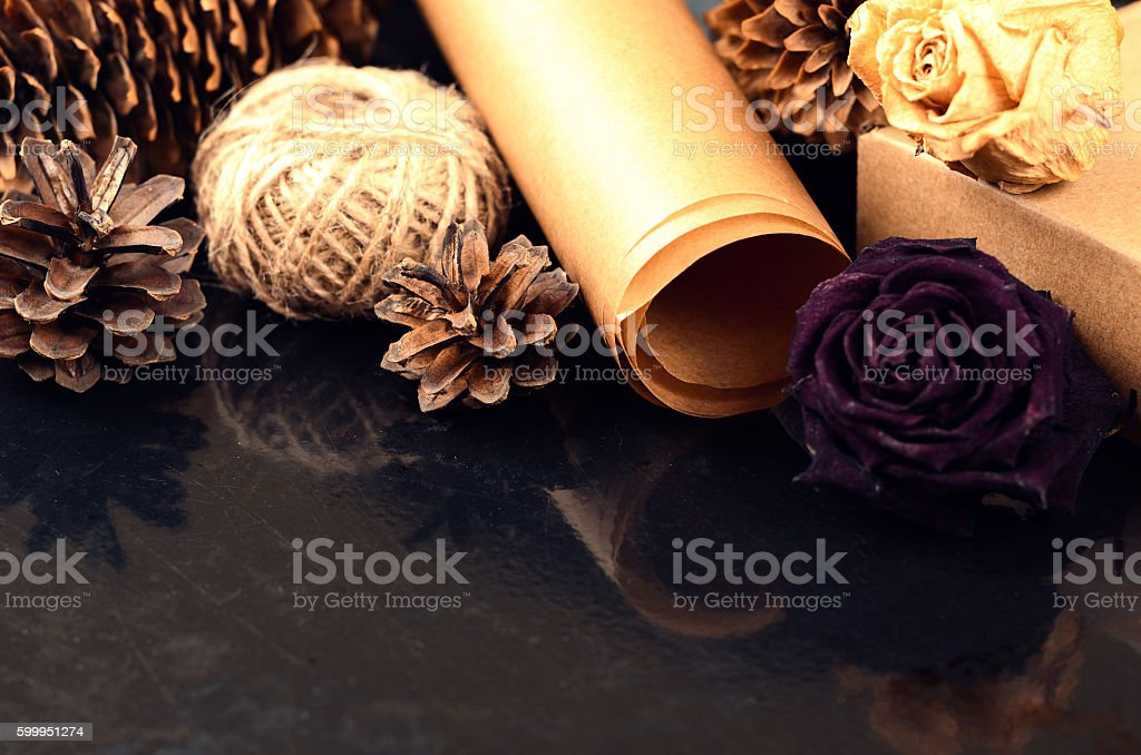 Natural items collection for handcraft (paper, pine and spruce c stock photo