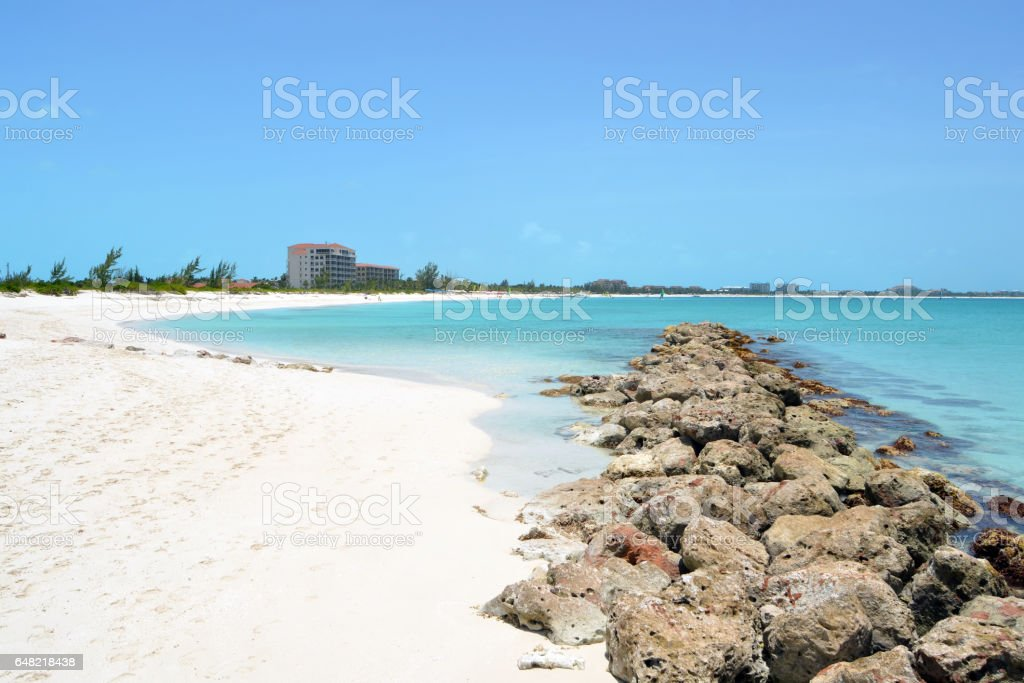 Natural Jetty in the Turks and Caicos Islands stock photo