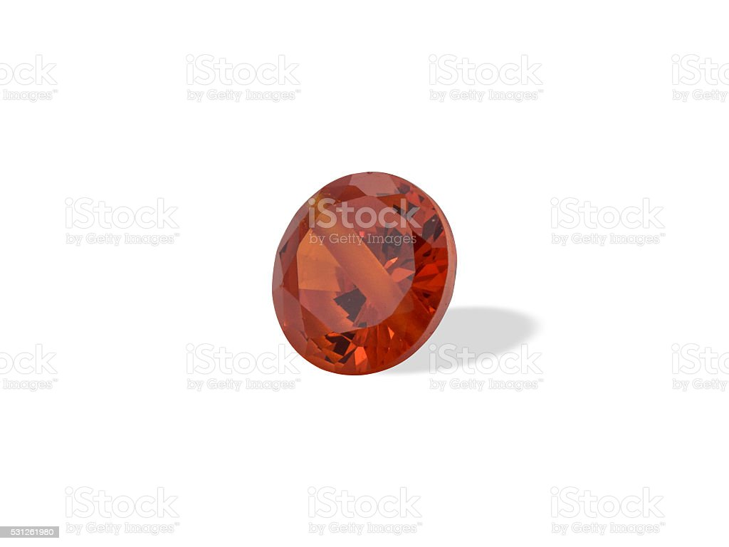 Natural jewelry gemstones red zircon bead on a white background stock photo