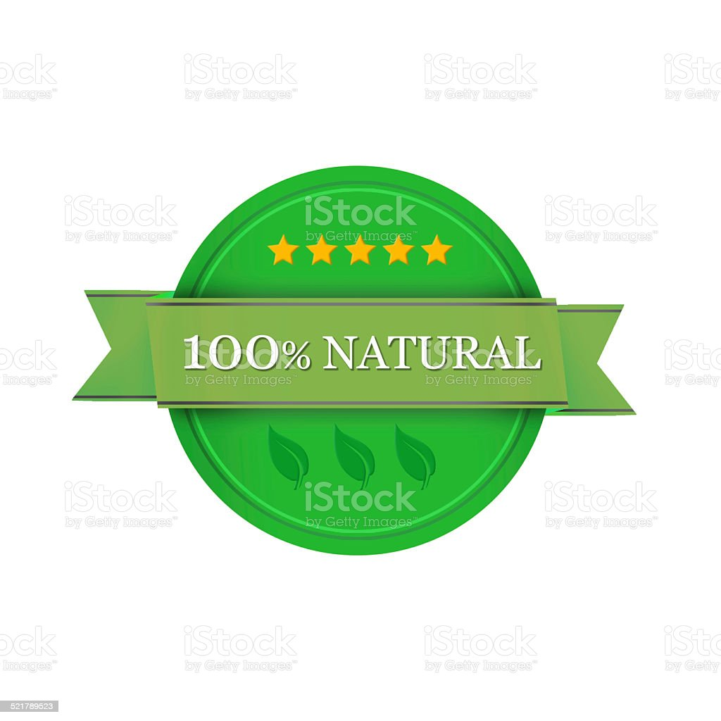 100% natural label stock photo