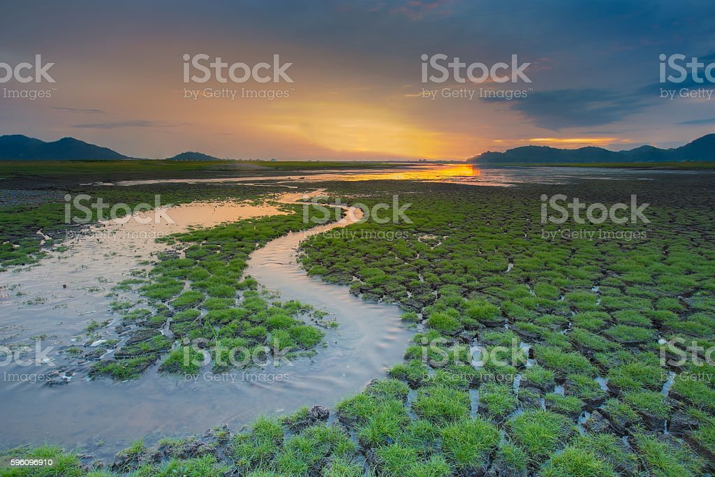 Natural land with small water way with sunset royalty-free stock photo
