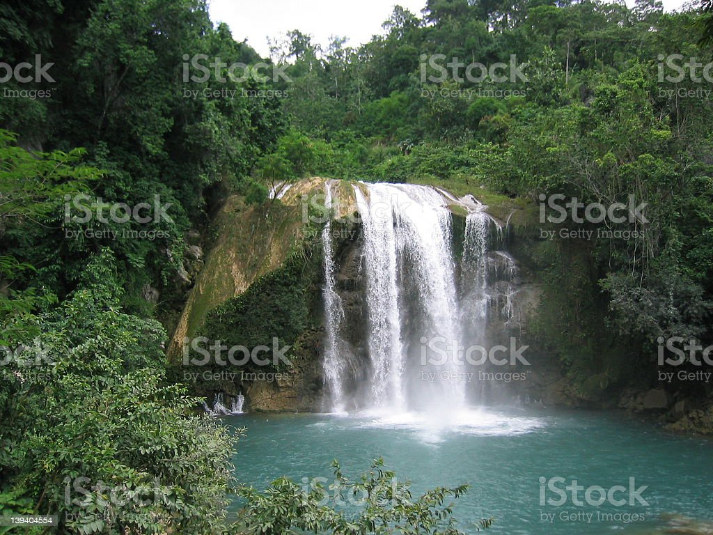 Natural landscape waterfall in the mountain stock photo