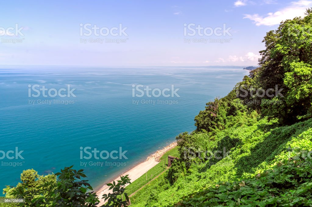 Natural landscape with blacksea in Georgia Botanical Garden. royalty-free stock photo