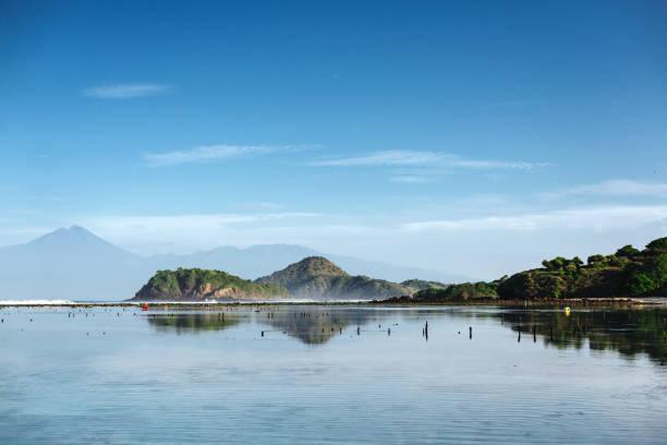 Natural landskape. Land sea and sky stock photo