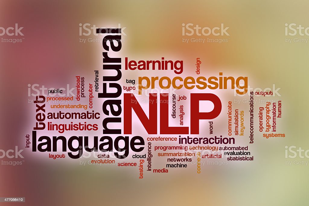 Natural language processing word cloud with abstract background stock photo