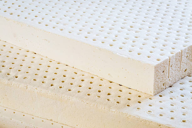 natural latex mattress exposed layers of natural latex from an organic mattress latex stock pictures, royalty-free photos & images