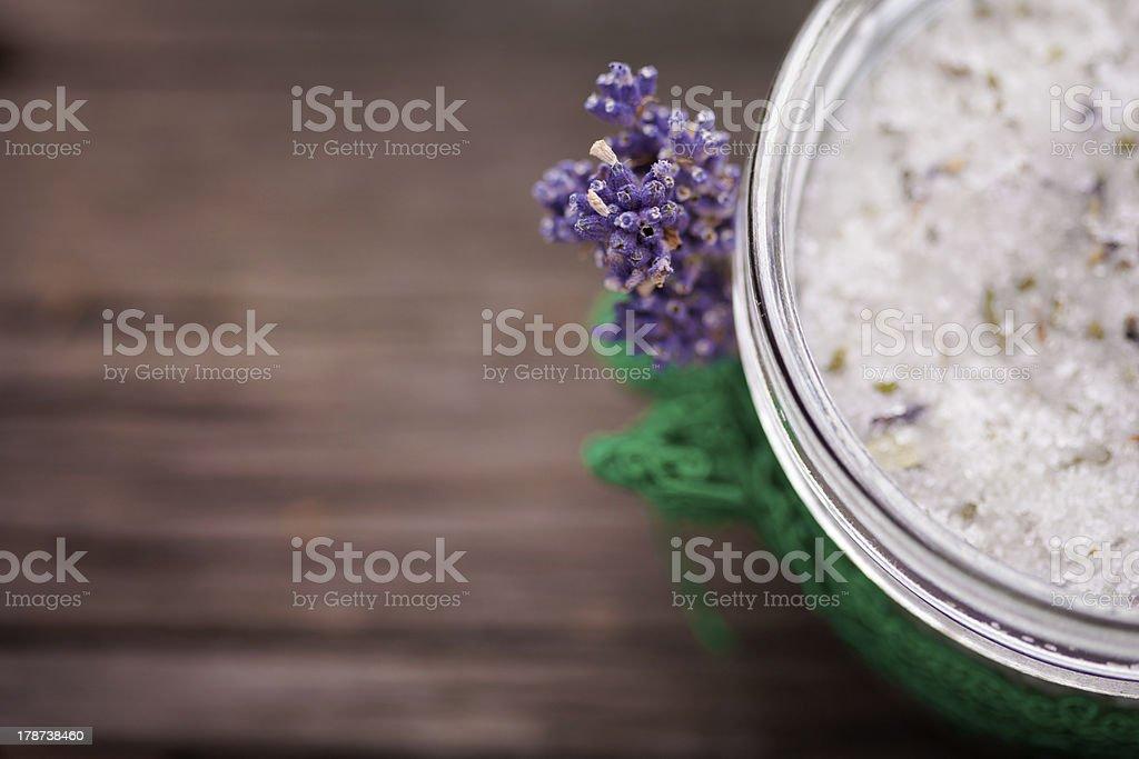 Natural lavender and coconut body scrub stock photo