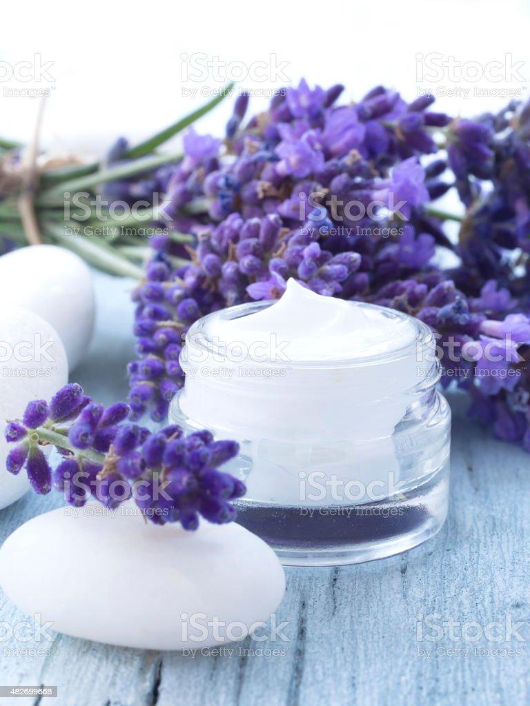 natural lavender facial cream stock photo