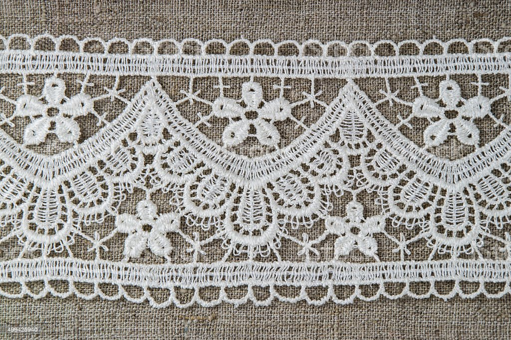 Natural Linen And Lace Background Royalty Free Stock Photo
