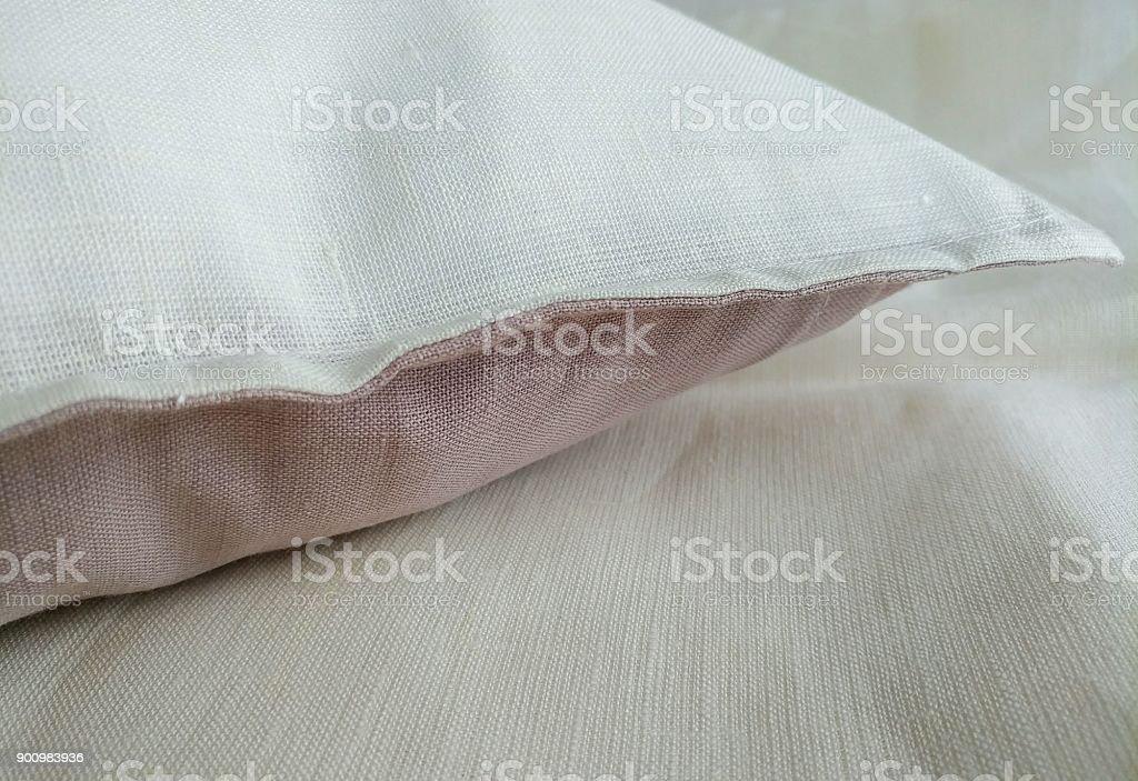 Natural linen handmade white pink pillow cover, pillowcase, cushion...