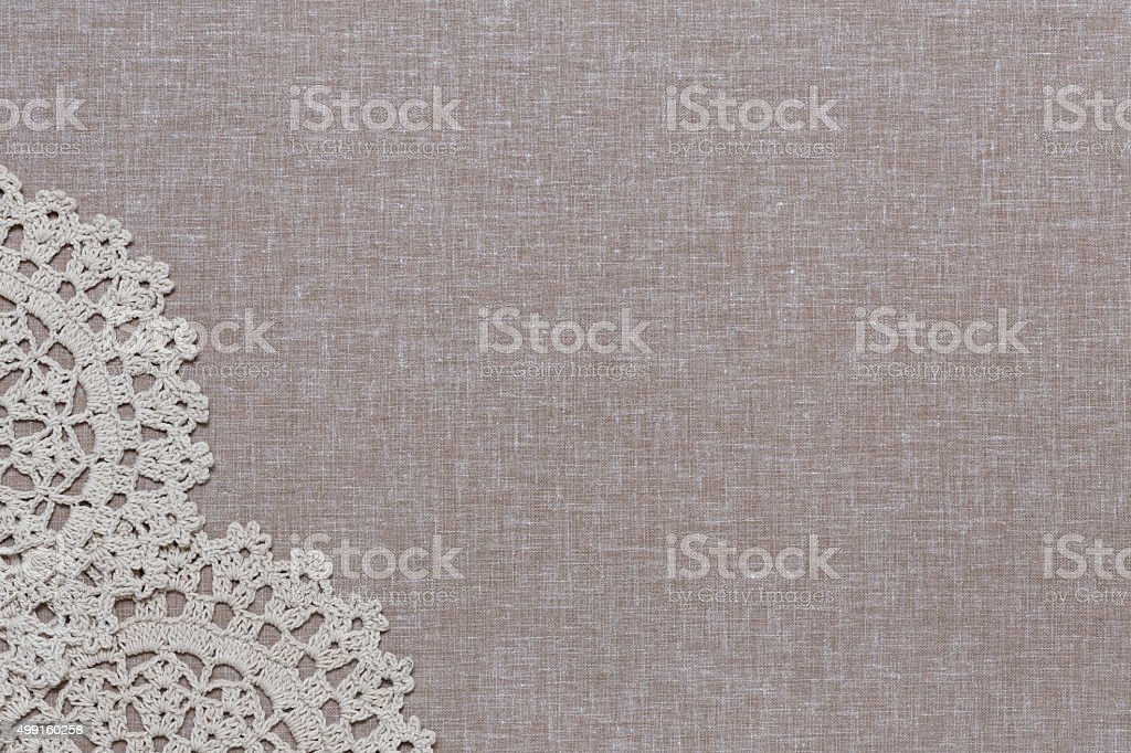 Natürliche Leinen-Textur mit weißen Spitzen – Foto