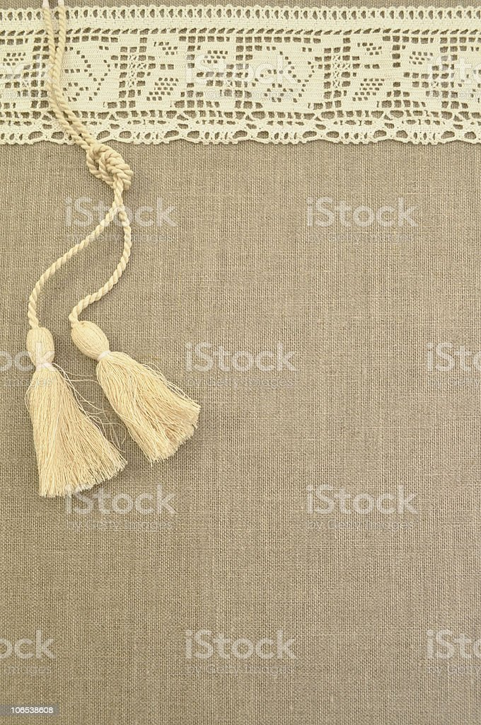 Natural linen with lace and brushes royalty-free stock photo