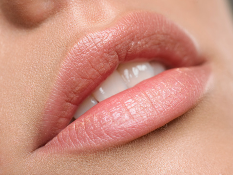 Natural lips stock photo