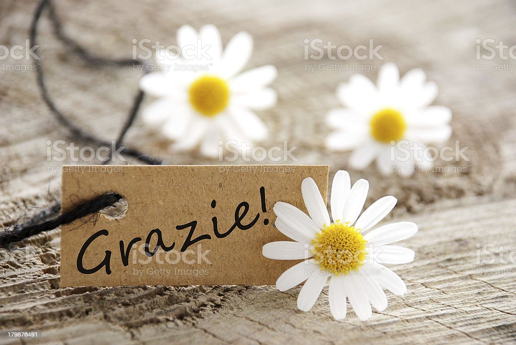 Natural Looking Label with Grazie royalty-free stock photo